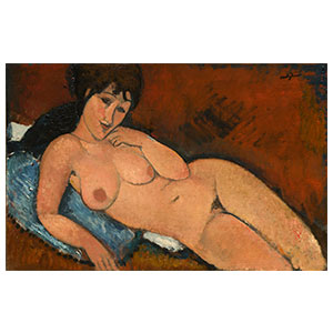 by amedeo modigliani right arm resting in a blue cushion  by amedeo modigliani