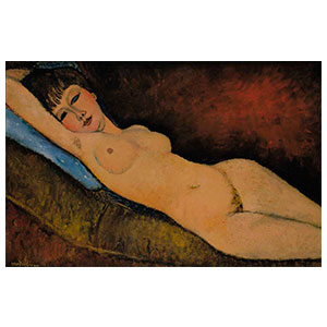 reclining nude or the blue cushion  by amedeo modigliani