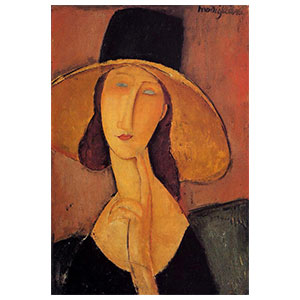 JEANNE HEBUTERNE WITH LARGE HAT BY AMEDEO MODIGLIANI