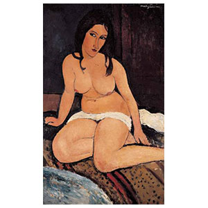 crouching nude or nu accroupi or seated nude by amedeo modigliani