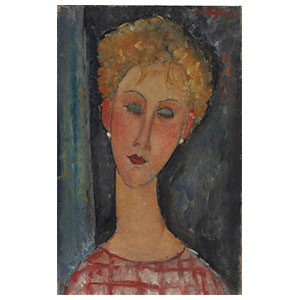 woman head with earrings by Amedeo Modigliani