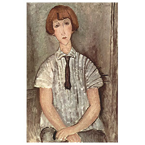 girl with a striped blouse or fille au corsage raye by amedeo modigliani