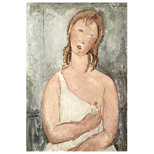 Red-haired Young Woman in a Chemise half figure by amedeo modigliani