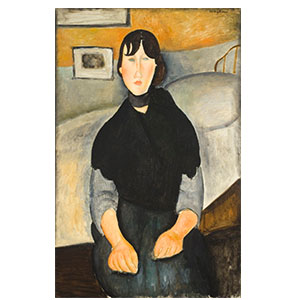 Young brunette seated in front of a bed BY AMEDEO MODIGLIANI