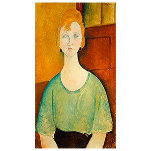WOMAN SEATED, THE GREEN BLOUSE BY AMEDEO MODIGLIANI