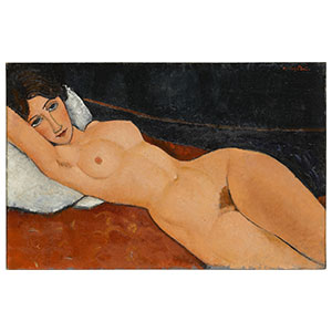 Lying nude, white cushion Nu couche by amedeo modigliani