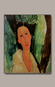 bust of hanka with trees in back by amedeo modigliani