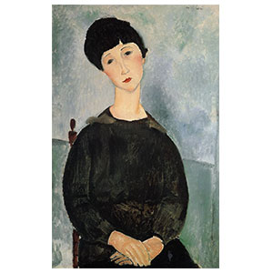 young woman seated  with hands crossed by amedeo modigliani