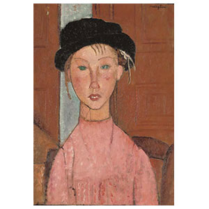 young girl with black cap or petite fille au chapeau noir by amedeo modigliani