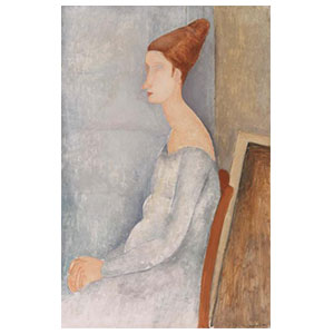 jeanne hebuterne seated in profile with white dress by amedeo modigliani