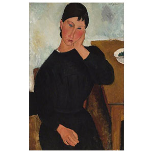 Elvira seated, leaning on a table by amedeo modigliani