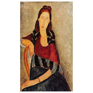jeanne hebuterne seated with arm in the back of the chair by amedeo modigliani