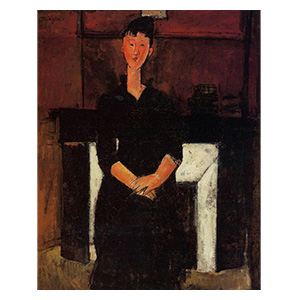Beatrice Hastings in front of the fireplace by amedeo modigliani