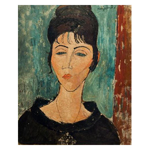 woman head with pendant by amedeo modigliani