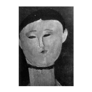 woman head, neck ribbon by amedeo modigliani
