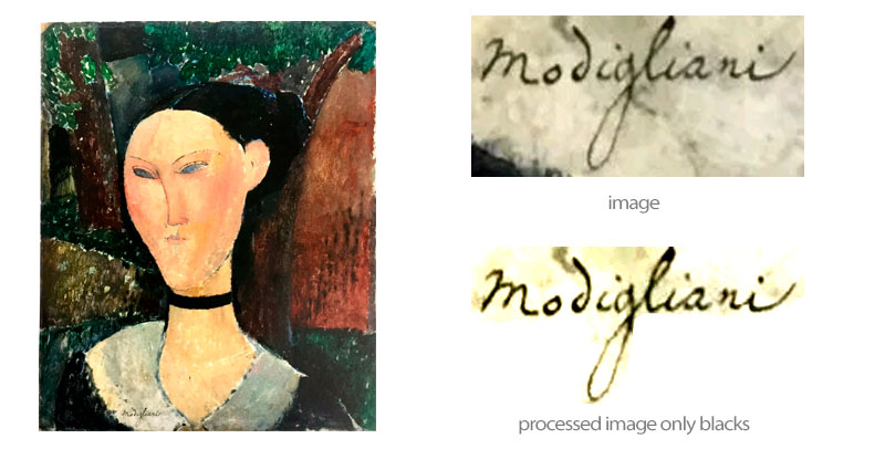 woman with a velvet ribbon modigliani - signature