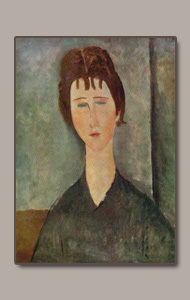 young fille brunne or young brunette or jeunne femme aux cheveux chatains by amedeo modigliani