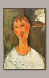 WOMAN WITH WHITE BLOUSE OR FEMME AU CORSAGE BLANC BY AMEDEO MODIGLIANI