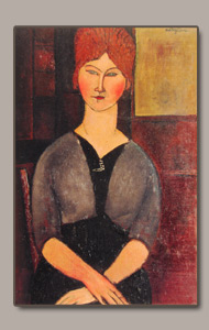 femme a la perruqye, woman with wig or femme a la coiffure by amedeo modigliani