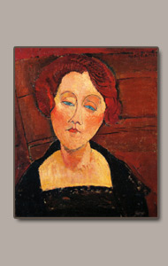 woman bust, red hair blue eyes by amedeo modigliani