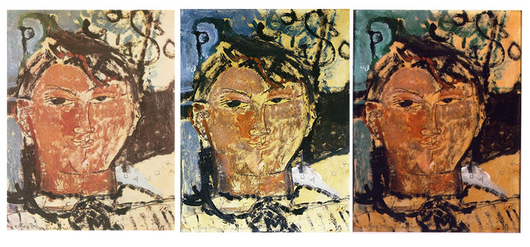 color changes in picasso portrait by modigliani