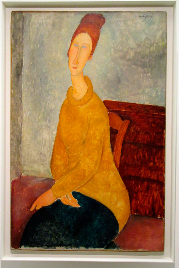 The painting framed at New York, Modigliani unmasked, Jewish Museum, 2018