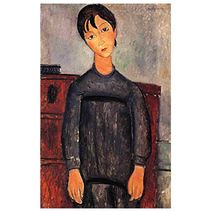 Girl standing in black pinafore amedeo modigliani