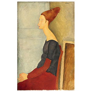 Jeanne Hébuterne seated in profile with dark dress amedeo modigliani