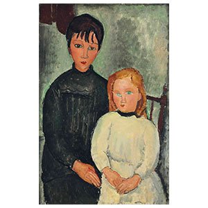 the two girls, les orphelines, the sisters by amedeo modigliani