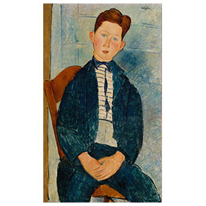 Seated boy with stripes shirt amedeo modigliani