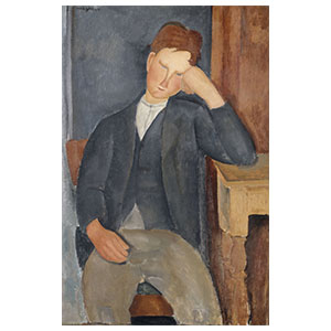 Peasant boy, elbow at the table amedeo modigliani