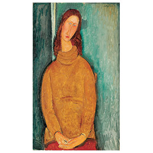 jeanne Hébuterne seated, yellow jumper amedeo modigliani