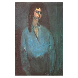 woman  blue shirt amedeo modigliani