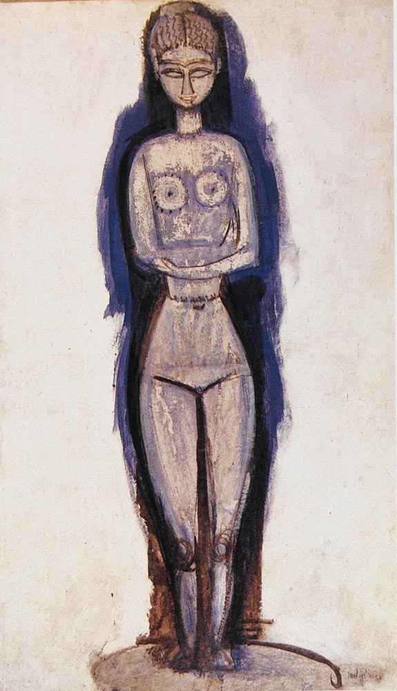 standing nude arms crossed by amedeo modigliani